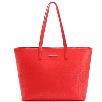 MNG Mango Croco Shopper Tote Bag (Red)