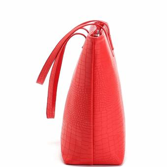 MNG Mango Croco Shopper Tote Bag (Red) - 3