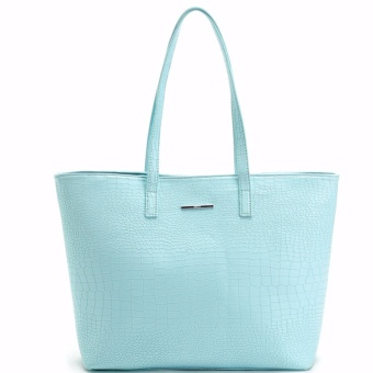 MNG Mango Croco Shopper Tote Bag (Sky Blue)