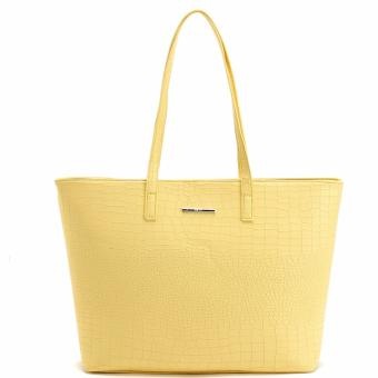 MNG Mango Croco Shopper Tote Bag (Yellow)