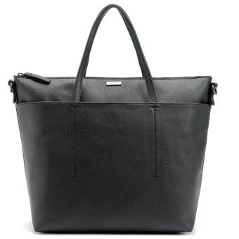 MNG Mango Pebbled Shopper Zip Tote Bag (Black)