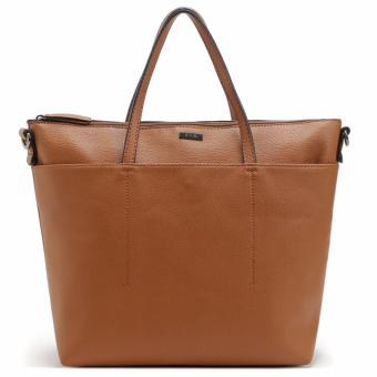 MNG Mango Pebbled Shopper Zip Tote Bag (Tan)