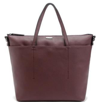 MNG Mango Pebbled Shopper Zip Tote Bag (Wine)