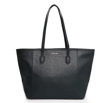 MNG Mango Saffiano Effect Shopper Zip Tote Bag (Navy Blue)