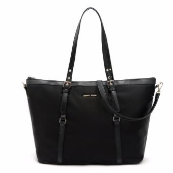 MNG Mango Tessuto Shopper Zip Tote Bag (Black)