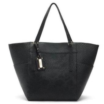 MNG Mango Textured Shopper Tote Bag (Black)