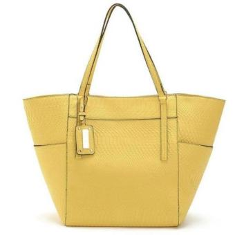 MNG Mango Textured Shopper Tote Bag (Yellow)