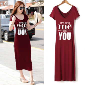 Modal short sleeved Slim fit mid-length skirt dress (Wine red color) (Wine red color)