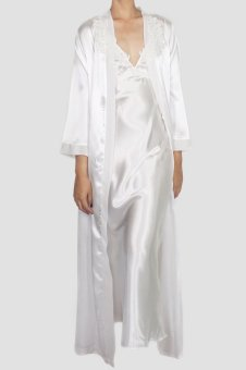 Momomio Bridal White Satin Long Robe (Bridal White)