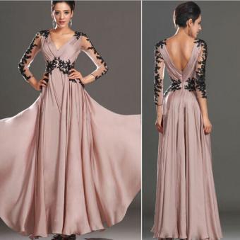 Moon Sunday Floral Print Women's Casual Fashion & BohemiaSummer Elegant Chiffon Long Dress for Holiday & Beach - intl - 3