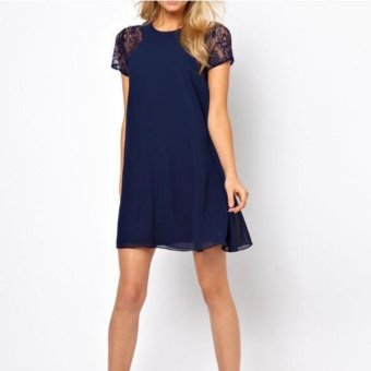 Moon Sunday Women's Plain O-Neck Short Sleeve Casual Fashion & Bohemia Summer Elegant Chiffon Dress for Holiday & Beach - intl