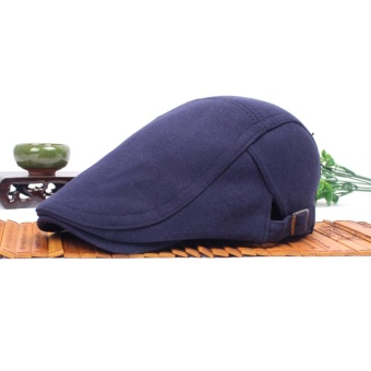 Moonar Fashion Unisex Solid Cap Duckbill Visor Artist Ivy Hat Golf Driving Flat Newsboy Beret peaked Sun Cap Classic Hats (Dark blue) - intl Price Philippines