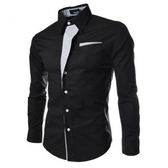 Moonar Men Fashion Formal Casual Style Long-Sleeve Pocket Slim Shirt (Black)