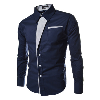Moonar Men Fashion Formal Casual Style Long-Sleeve Pocket SlimShirt (Dark Blue)