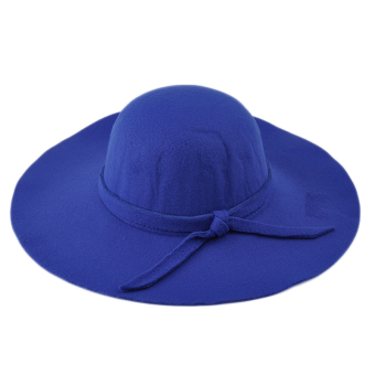 Moonar Women Vintage Big Brim Sun Shade Hat Cap Blue