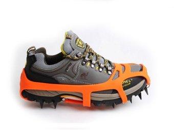 Mountaineering Hiking Crampons 18Teeth Outdoor Antislip Ice Shoe Spikes L orange - 3