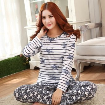 Mouth cotton long-sleeved Plus-sized women home clothes women pajamas (NS bar stars)