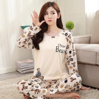 Mouth cotton long-sleeved Plus-sized women home clothes women pajamas (NS lettered bear)