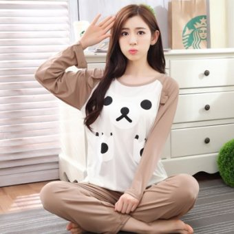 Mouth cotton long-sleeved Plus-sized women home clothes women pajamas (NS white bear biscuits)