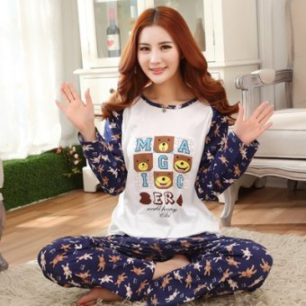 Mouth cotton long-sleeved Plus-sized women home clothes women pajamas (NSHan version Bear)