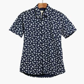Mr. Smyth Boys Teens Graphic Pattern Casual Shirt (Navy Blue)