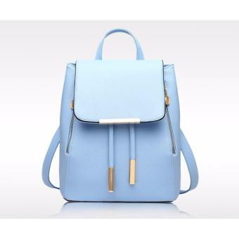 Ms han edition tide fashion backpack(light blue)