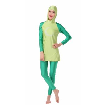 Ms new Muslim swimsuits conservative swimsuit beach bathing suits Green - intl