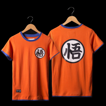 Mucunsanshe men's cotton short sleeved round neck Teenager T-shirt (Orange-Dragon Ball-01 Wu Kong) (Orange-Dragon Ball-01 Wu Kong)