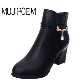 MUJIPOEM Women Martins Ankle Boots Fashion Ladies Shoes (Black) - intl
