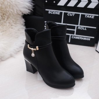 MUJIPOEM Women Martins Ankle Boots Fashion Ladies Shoes (Black) - intl - 3