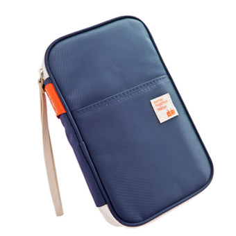 Multi-functional documents bag storgage bag travel passport holder (Size + Dark blue color)