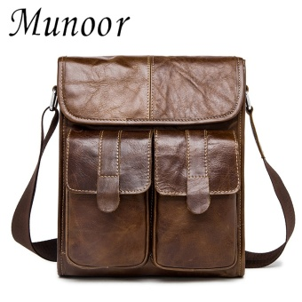 Munoor 100% Genuine Cow Leather Bag Men Shoulder Crossbody Bags Men's Travel Messenger Bags Briefcases Leather Laptop Handbag - intl