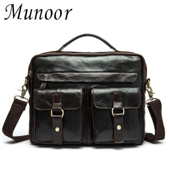 Munoor 100% Genuine Cow Leather Bag Men Shoulder Crossbody BagsMen's Travel Messenger Bags - intl - 2
