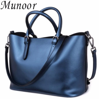 Munoor Italian 100% Genuine Cow Leather Women Top-handle Bags Fashionable Lady Shoulder Bags (Blue)(...) - intl
