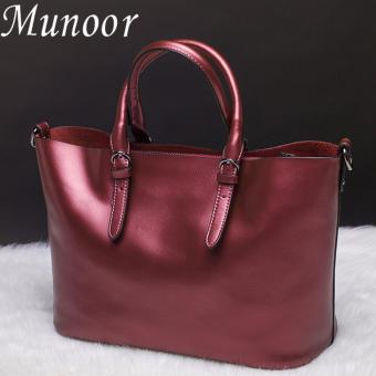 Munoor Italian 100% Genuine Cow Leather Women Top-handle Bags Fashionable Lady Shoulder Bags (Burgundy)(...) - intl