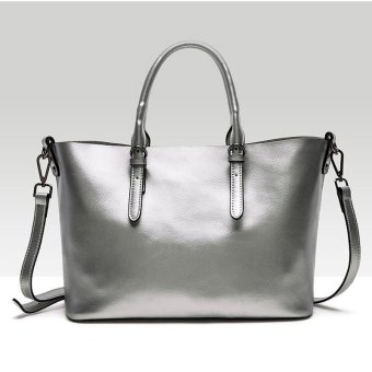 Munoor Italian 100% Genuine Cow Leather Women Top-handle BagsFashionable Lady Shoulder Bags (Silver)(...) - intl