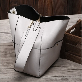 Munoor Italian 100% Genuine Cow Leather Women Tote Bags Fashionable Handbags Shoulder Bag for Travel (White) - intl