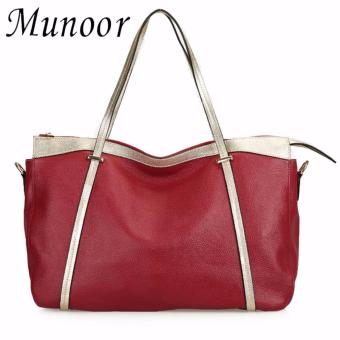 Munoor ITALIAN Women Tote Bags 100% Genuine Cow Leather FashinableShoulder Bags Big Travel Holder (Burgundy) - intl