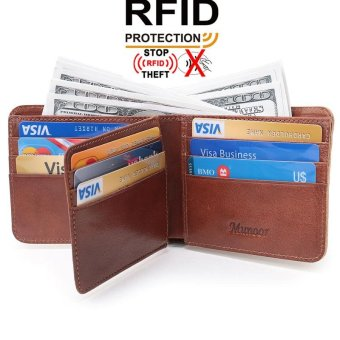 Munoor RFID Blocking Italian Genuine Cow Leather Mens Bifold Wallet Money Clip Holder - intl
