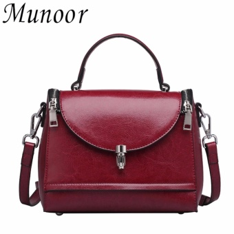 Munoor Women Cross Shoulder Bags 100% Genuine Leather FashionableSling Bags Casual Travel Holder (Burgundy) - intl