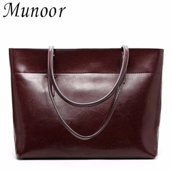 Munoor Women Handbags 100% Genuine Cow Leather Fashionable ToteBags Casual Shoulder Bags Purses Coffee Color - intl