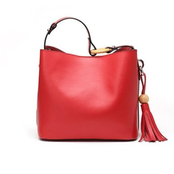 Munoor Women Handbags Italian 100% Genuine Cow Leather Fashinable Shoulder Bags Crossbody Top-handle Holder (Red) - intl - 3