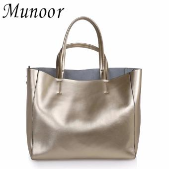 Munoor Womens Tote Bags 100% Genuine Cowhide Leather Fashionable Shoulder Lady Bags Handbags for Travel (Gold) - intl