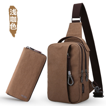 MUZEE Korean-style men's messenger bag chest pack (Light coffee color (conventional models package))