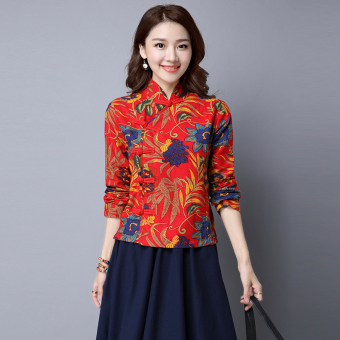 National Style cotton linen autumn New style Chinese costume (Red)