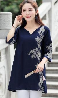 National Style cotton linen three-dimensional embroidered flowers Top T-shirt shirt (Dark blue color) (Dark blue color)