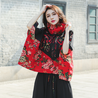 National Style flower cloth costume Cape blouse Top (Red) (Red)