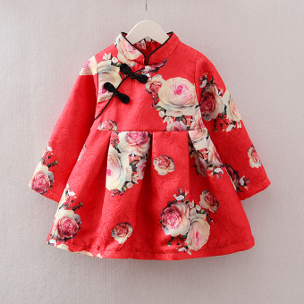 National Style spring and summer children's thin costume Cheongsam (Red)