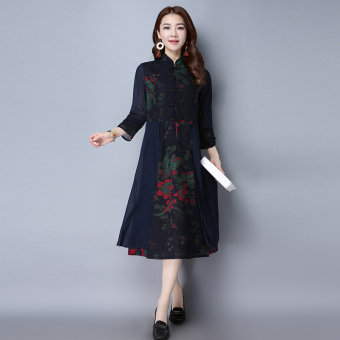 National Wind cotton silk autumn New style improved cheongsam dress (Dark blue)