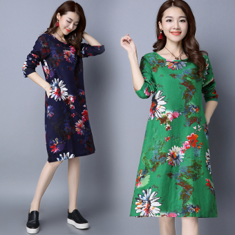 National Wind Linen autumn New style dress (Dark blue color)